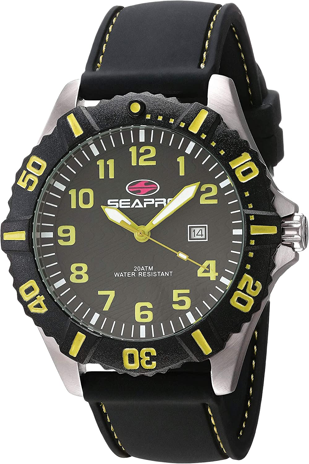 Seapro Men's Trooper Stainless Steel Quartz Silicone Strap, Black, 22 Casual Watch (Model: SP1512)