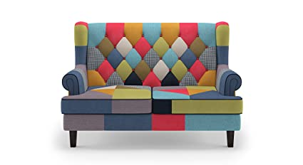 Urban Ladder Minnelli Two Seater Love Seat (Matte Finish, Retro Patchwork)