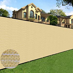Sunnyglade 6 feet x 50 feet Privacy Screen Fence Heavy Duty Fencing Mesh Shade Net Cover for Wall Garden Yard Backyard (Sand)