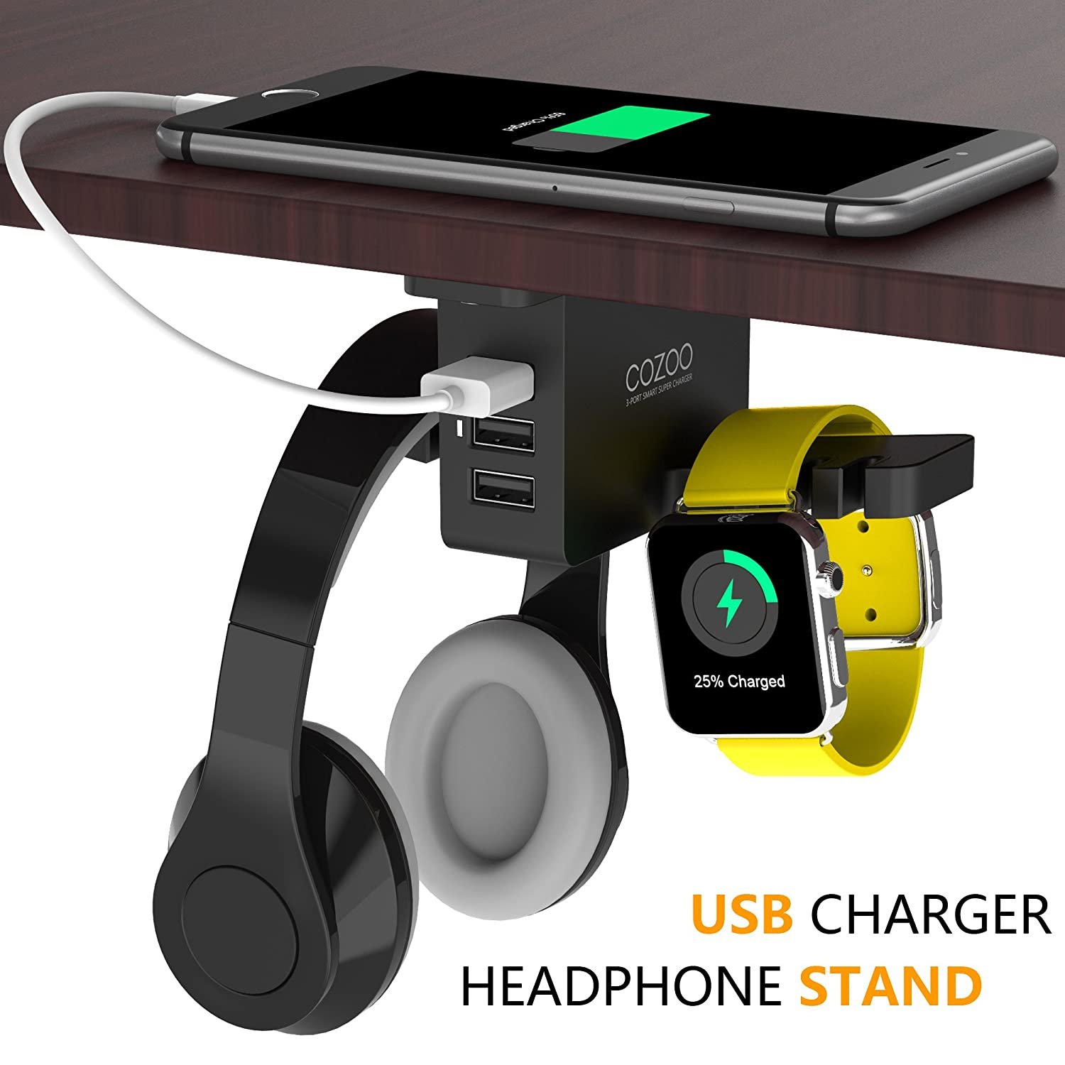 Headphone Stand With Usb Charger Cozoo Under Desk Headset Holder Mount With 3 Port Usb Charging Station And Apple Watch Stand Smart Watch Charging Dock Dual Earphone Hanger Hook For All Headphones by Amazon