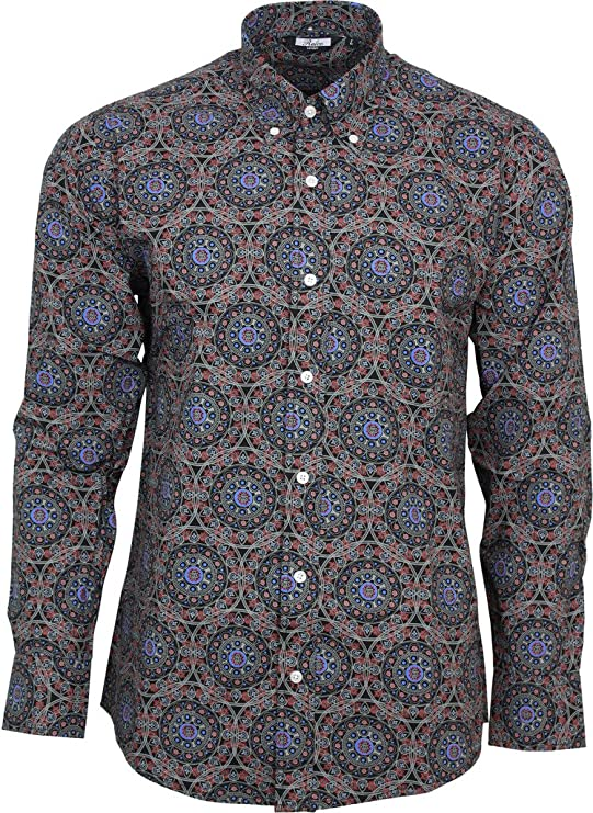 Relco Mens Green Abstract Floral Long Sleeved Button Down Vintage Shirt Mod NEW
