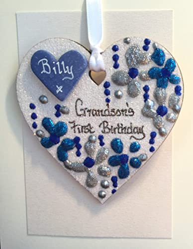 First Birthday Grandson Gift Keepsake Glitter Heart Plaque Personalised Amazoncouk Handmade