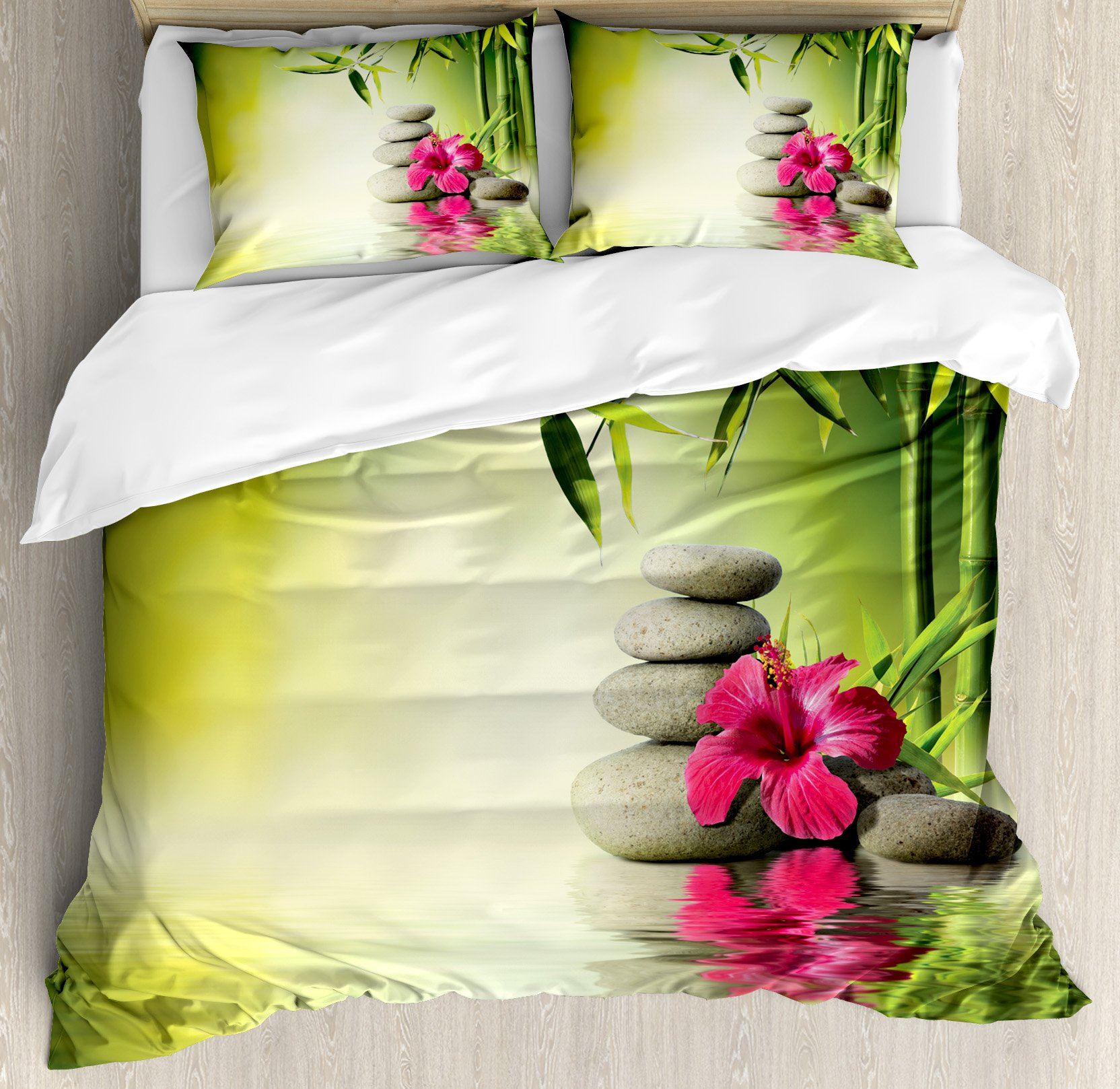 Ambesonne Spa Decor Duvet Cover Set Queen Size, Stones Bamboo Leaves on the Water Pool Meditating Freshness Relaxing, Decorative 3 Piece Bedding Set with 2 Pillow Shams