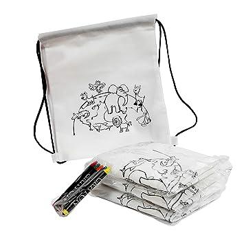 FUN FAN LINE® - Set de 20 Mochilas Infantiles para Colorear con diseño de animalitos. Ideal para Fiestas de cumpleaños Infantiles ¡Incluye Ceras de ...