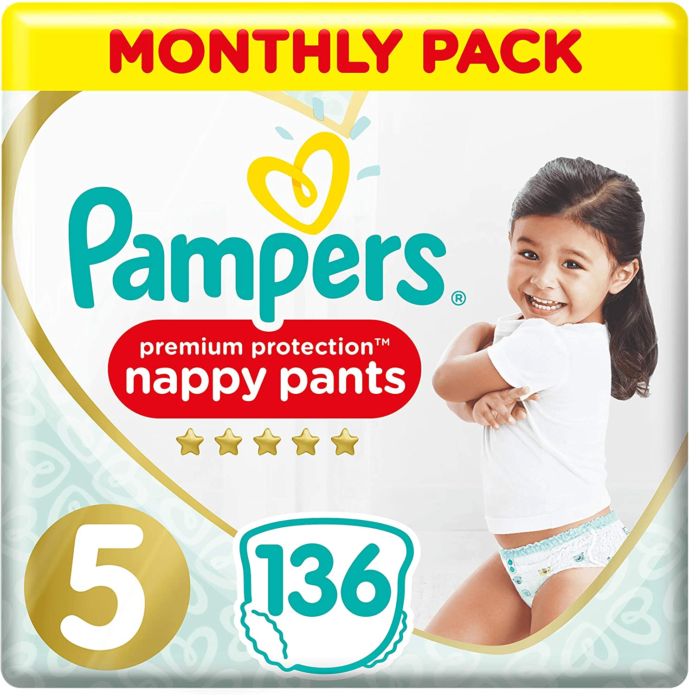 Pampers Premium Protection Pa/ñales Pack de ahorro mensual suave al tacto en la piel en pantalones de pa/ñales f/áciles de poner
