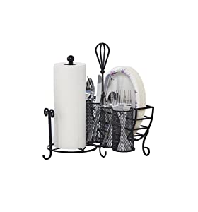 Gourmet Basics by Mikasa 5176813 Avilla Picnic Plate Napkin and Flatware Storage Caddy with Paper Towel Holder Antique Black