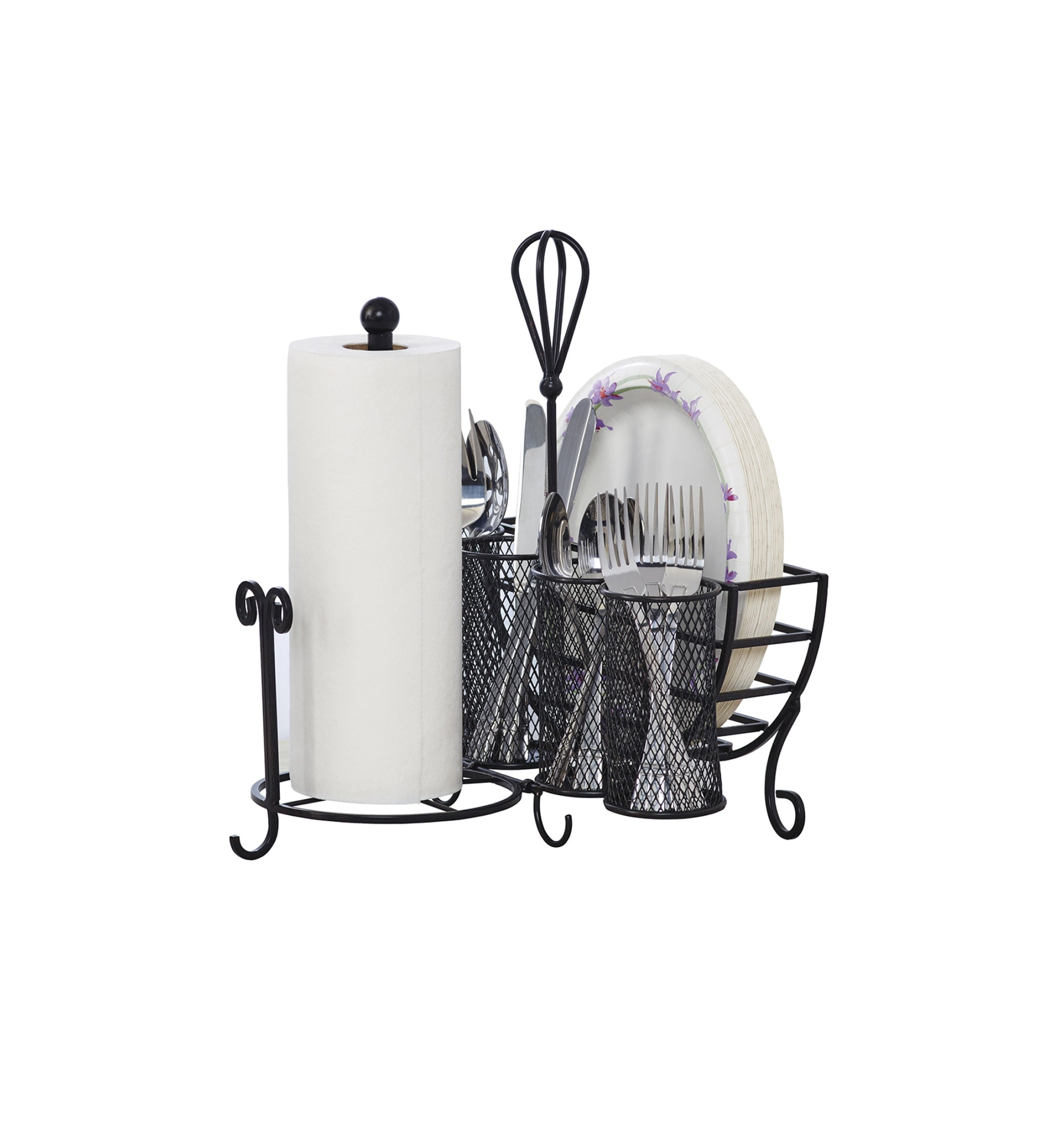 Gourmet Basics by Mikasa 5176813 Avilla Picnic Plate Napkin and Flatware Storage Caddy with Paper Towel Holder, Antique Black