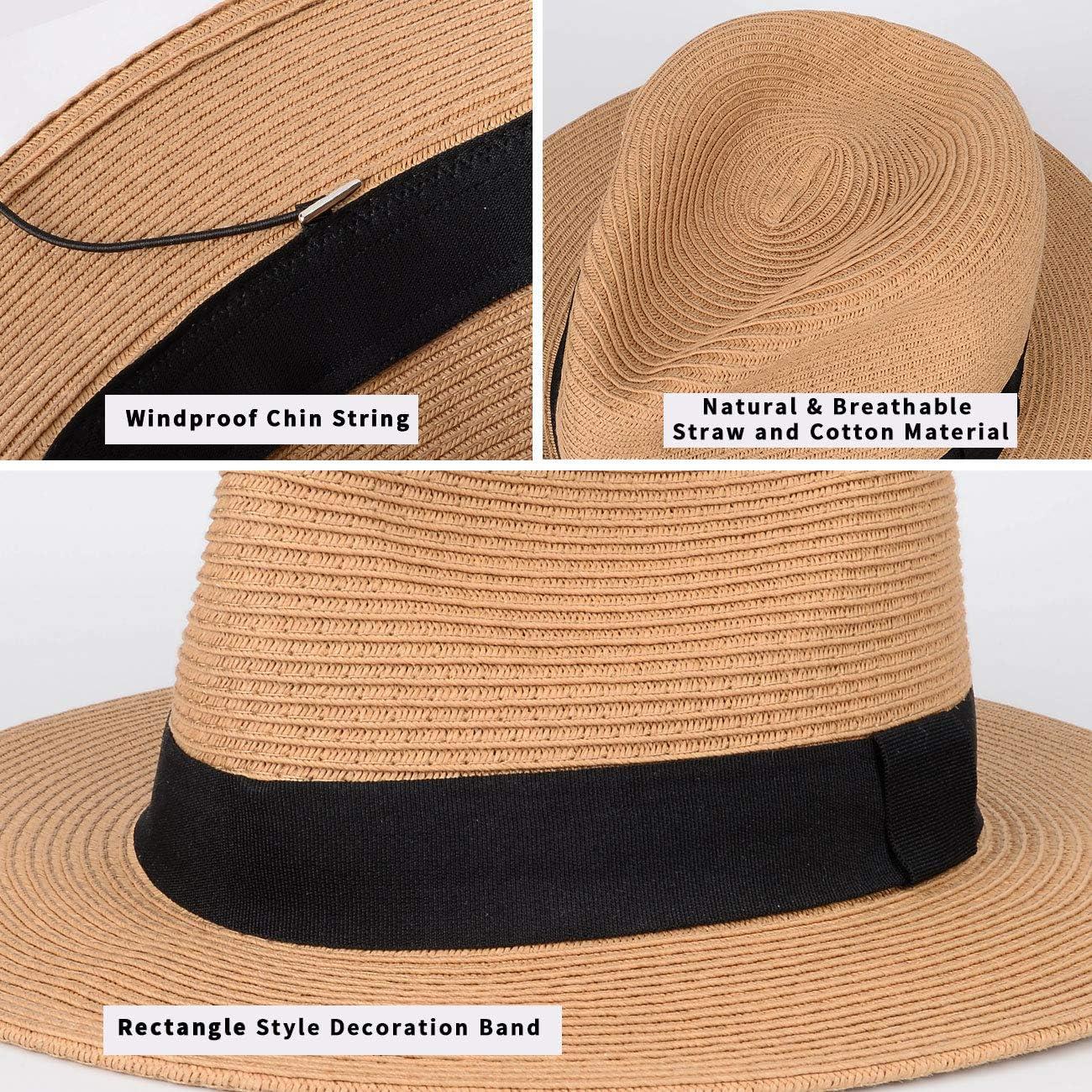 con fascia nera regolabile Maylisacc Cappelli Panama arrotolabili da uomo a tesa larga estivi traspiranti