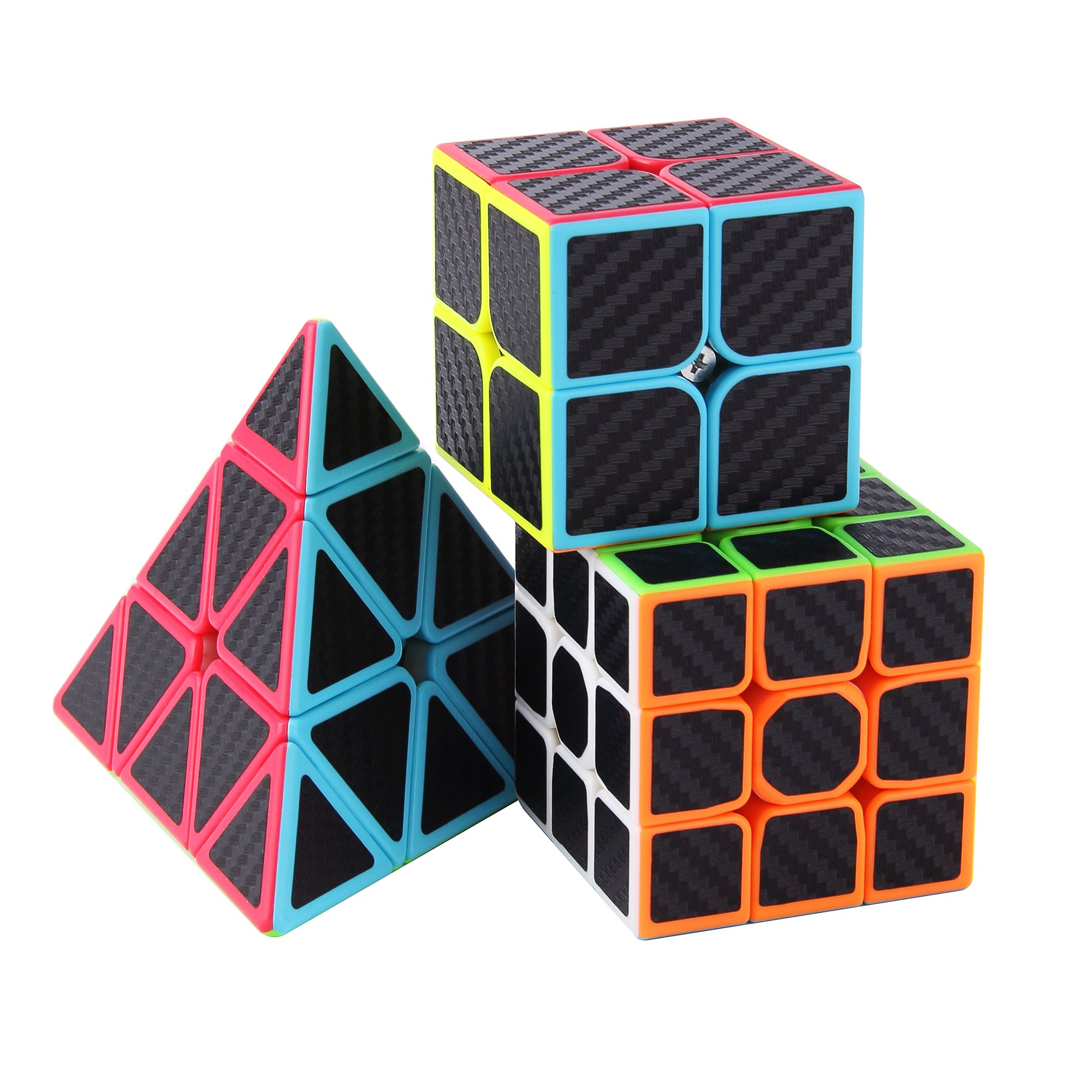 Roxenda Speed Cube Set, Magic Cube Set of 2x2x2 3x3x3 Pyramid Cube Carbon Fiber Improved Version Speedcube by ROXENDA