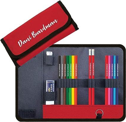 Estuche de lápices personalizado con 12 lápices de colores, 2 lápices HB en relieve con nombre más goma de borrar Helix y sacapuntas de metal, color rosso Popcorn Pink: Amazon.es: Oficina y