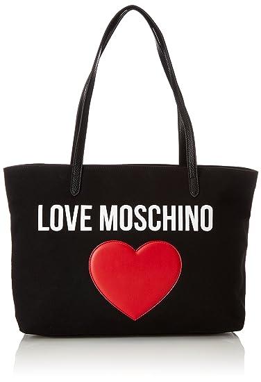 Love Moschino Borsa Canvas Nero+pebble Pu Nero 9cea5bf8e3e70