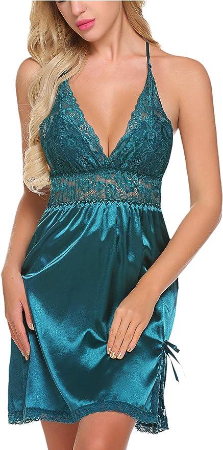 Avidlove Women Lingerie V-Neck Chemise Lace Babydoll Satin Sleepwear Slit Slip