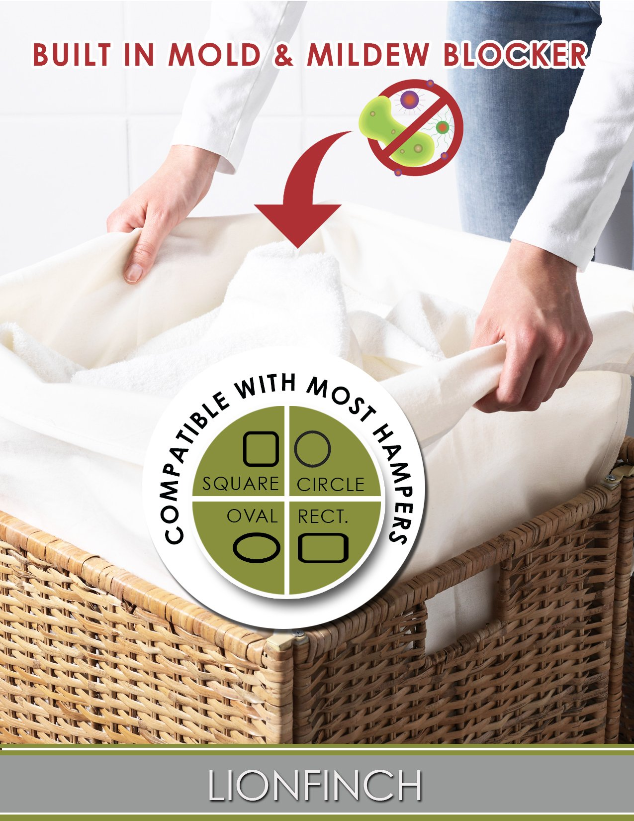 "Laundry Hamper Liner that BLOCKS Mold and Mildew. Extra Large 40"" Tall x 30"" Wide. Bright White Super Soft Canvas. Fits 5 Loads of Laundry. Easy to Wash and Dry. Proudly Made in California!"