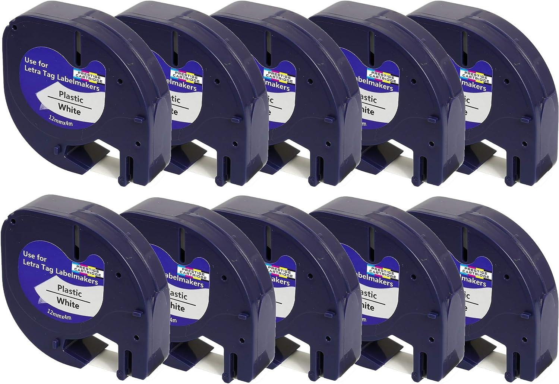 12 mm x 4 m, 10 rollos Cinta para impresoras de etiquetas Dymo Prestige Cartridge 91201 color negro y blanco