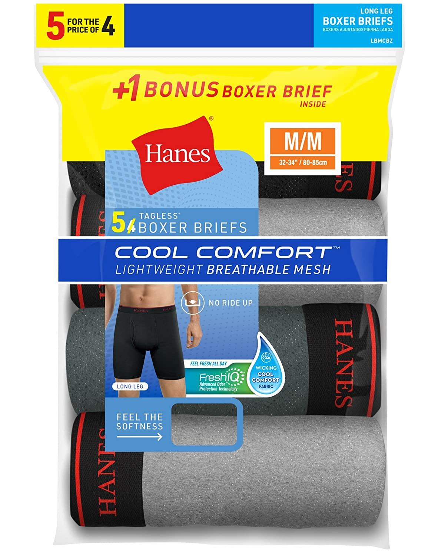 Hanes Mens FreshIQ Cool Comfort Breathable Mesh 5-Pack Long Leg ...