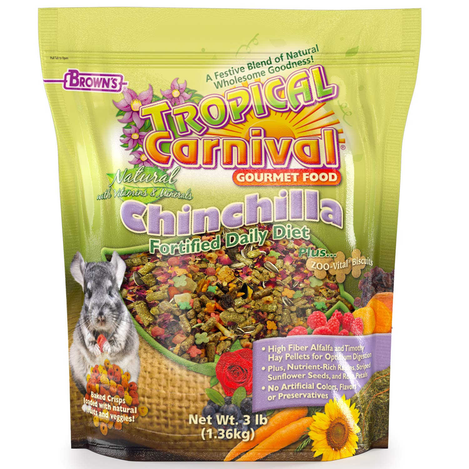 Tropical Carnival F.M. Brown's Natural Chinchilla Food, 3-lb Bag - Vitamin-Nutrient Fortified Daily Diet with High Fiber Alfalfa and Timothy Hay Pellets for Optimum Digestion