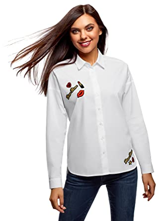 a2ee58930474b0 oodji Ultra Women s Relaxed-Fit Cotton Shirt with Décor