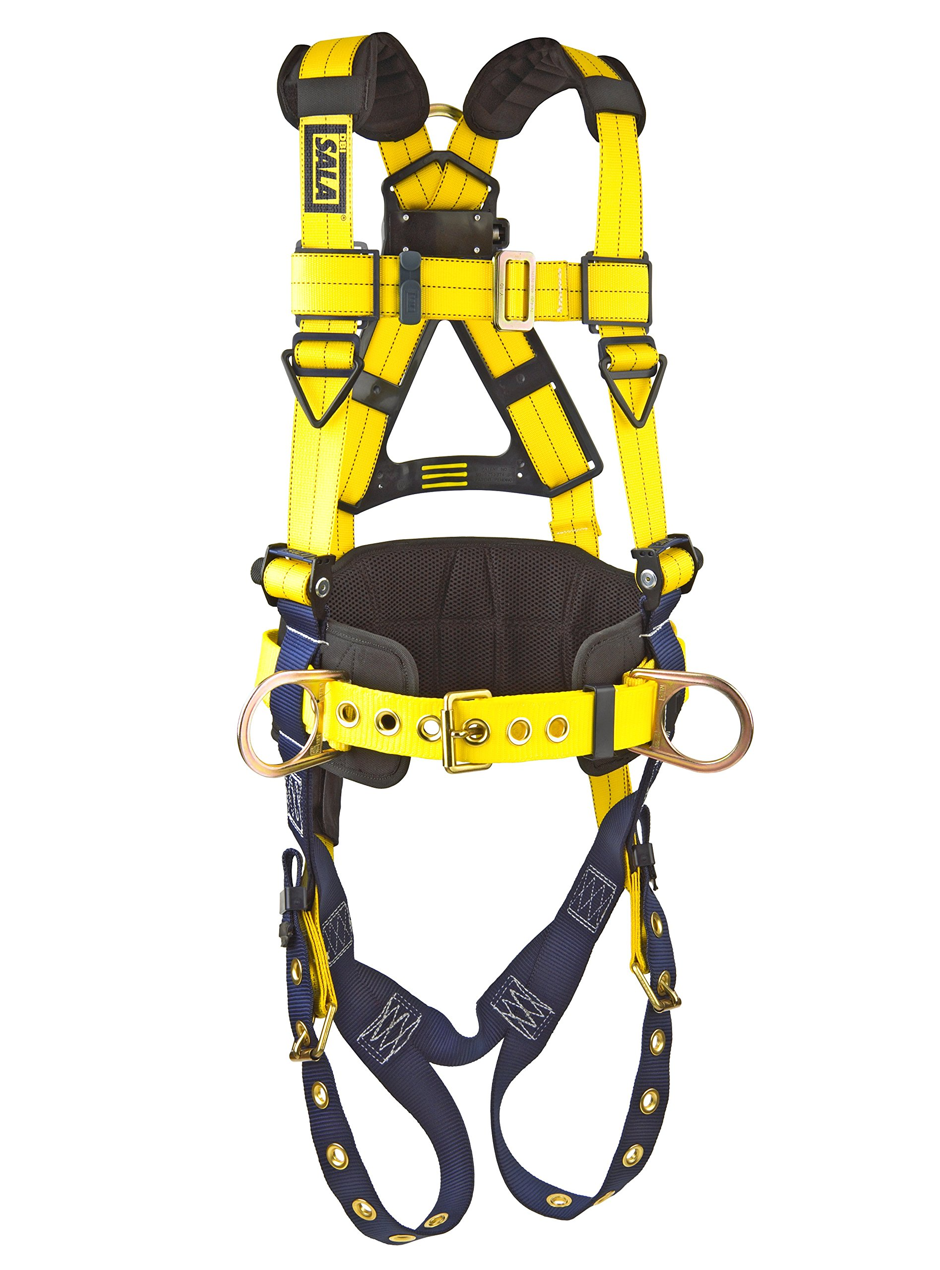 3M DBI-SALA Delta 1101654 Construction Harness, Back/Side D-Rings, Belt w/Sewn-In Back & Shoulder Pads, Tongue Buckle Leg Straps, Medium, Navy/Yellow by 3M Fall Protection Business (Image #2)