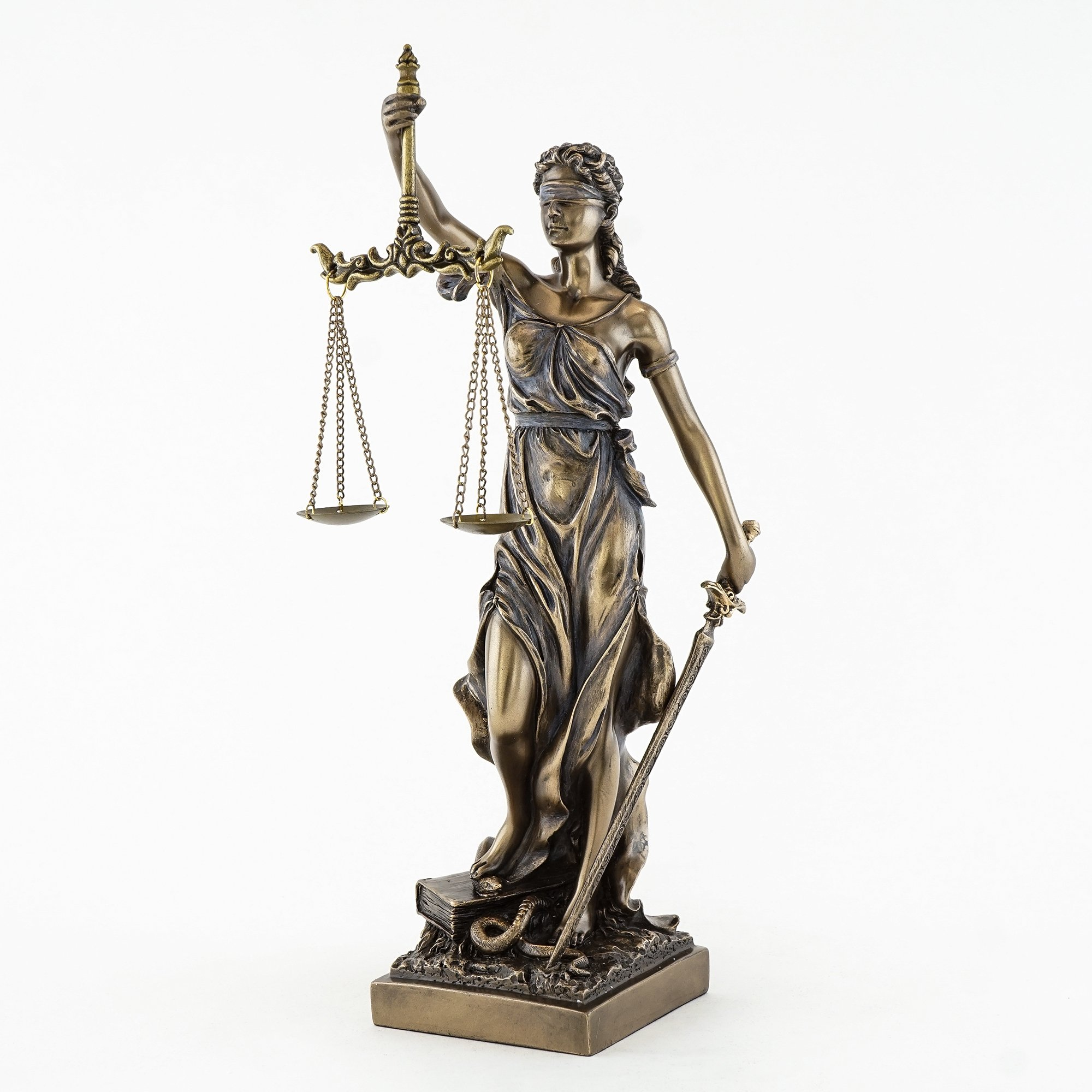 Top Collection 12.5'' Blind Folded Lady Justice Statue in Cold Cast Bronze- Roman Goddess of Justice Sculpture Carrying the Scales of Justice and Sword