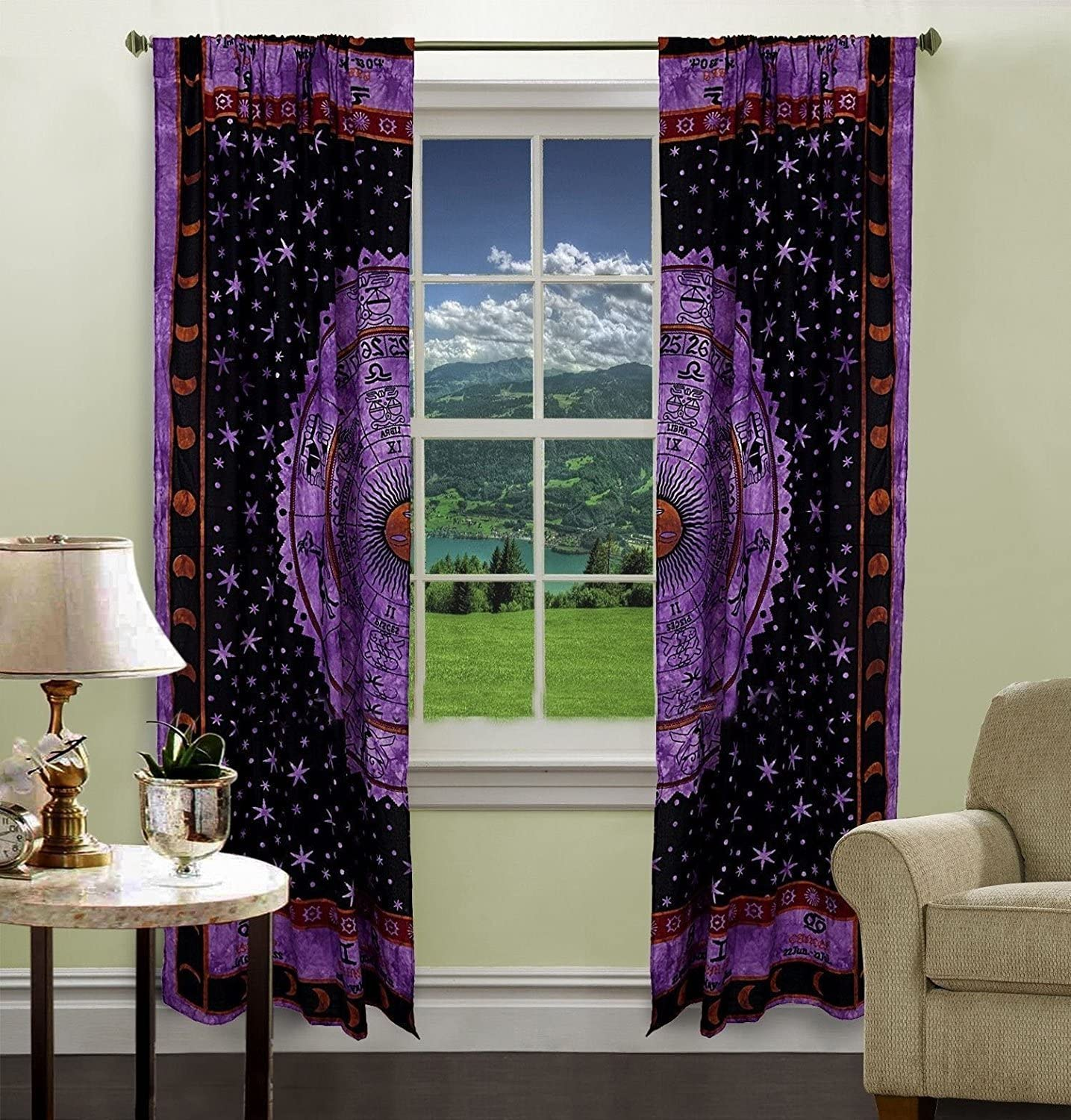 Purple Color Zodiac Astrology Tapestry Curtain Home Decor Room Darkening Window Treatments & Valance Balcony Sheer Room Divider Bedroom Decor Handmade Wall Hanging Window Curtains Boho Panels