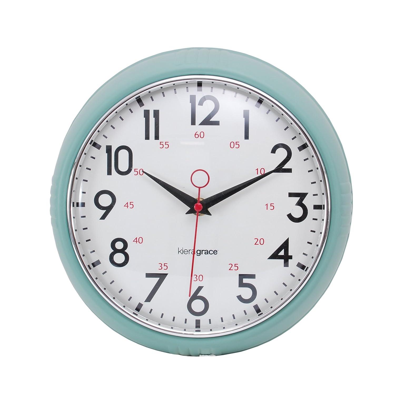 amazoncom infinity instruments turquoise retro inch metal  - kiera grace retro wall clock with chrome bezel and convex glass lensinch inch deep green