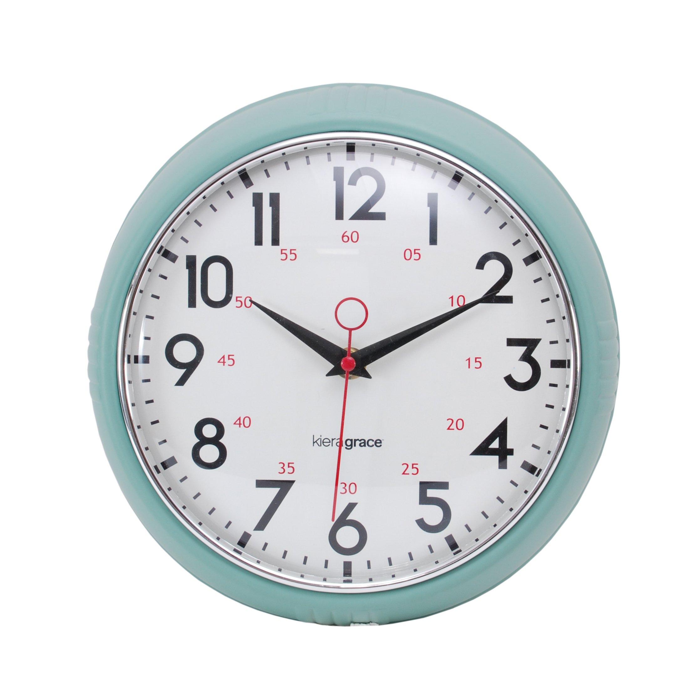Kiera Grace Retro Wall Clock with Chrome Bezel and Convex Glass Lens, 9.5-Inch, 2.5-Inch Deep, Green by Kiera Grace