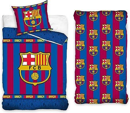 Drap-Housse Housse de Couette Taie doreiller LesAccessoires Parure de lit 3 Pi/èces FC Barcelone 100/% Coton