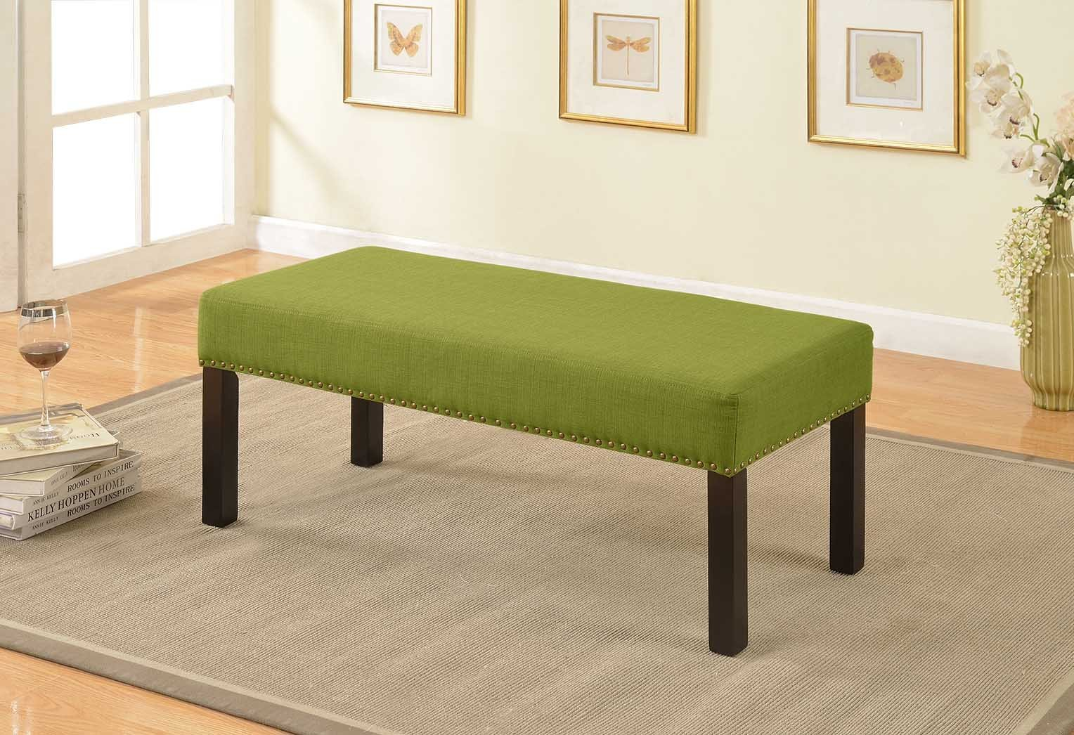 Container Furniture Direct Alma Collection Contemporary Upholstered Fabric Decorative Accent Bench Nailhead Trim, Lime Green