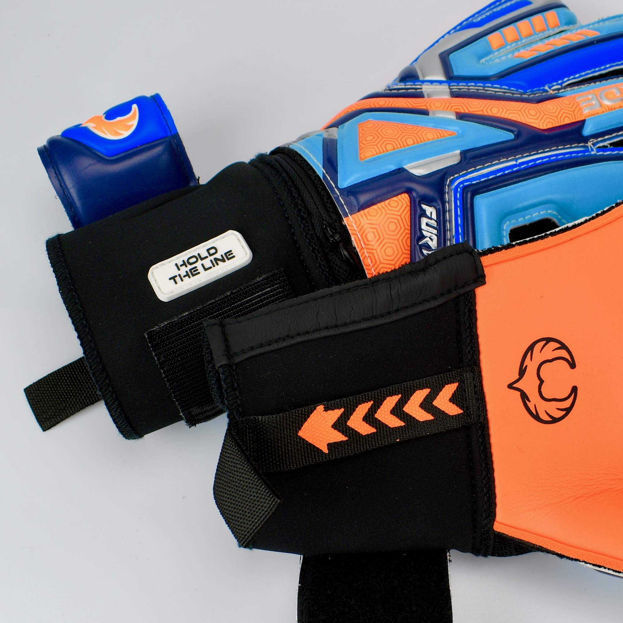 Renegade GK Fury Siege Roll Hybrid Cut Pro Level 4 Youth Goalkeeper Gloves with Pro-Tek Fingersaves - Kids Soccer Goalie Gloves Youth Size 7 - Boys & Girls Goalie Gloves Soccer - Blue, Orange, Black by Renegade GK (Image #3)