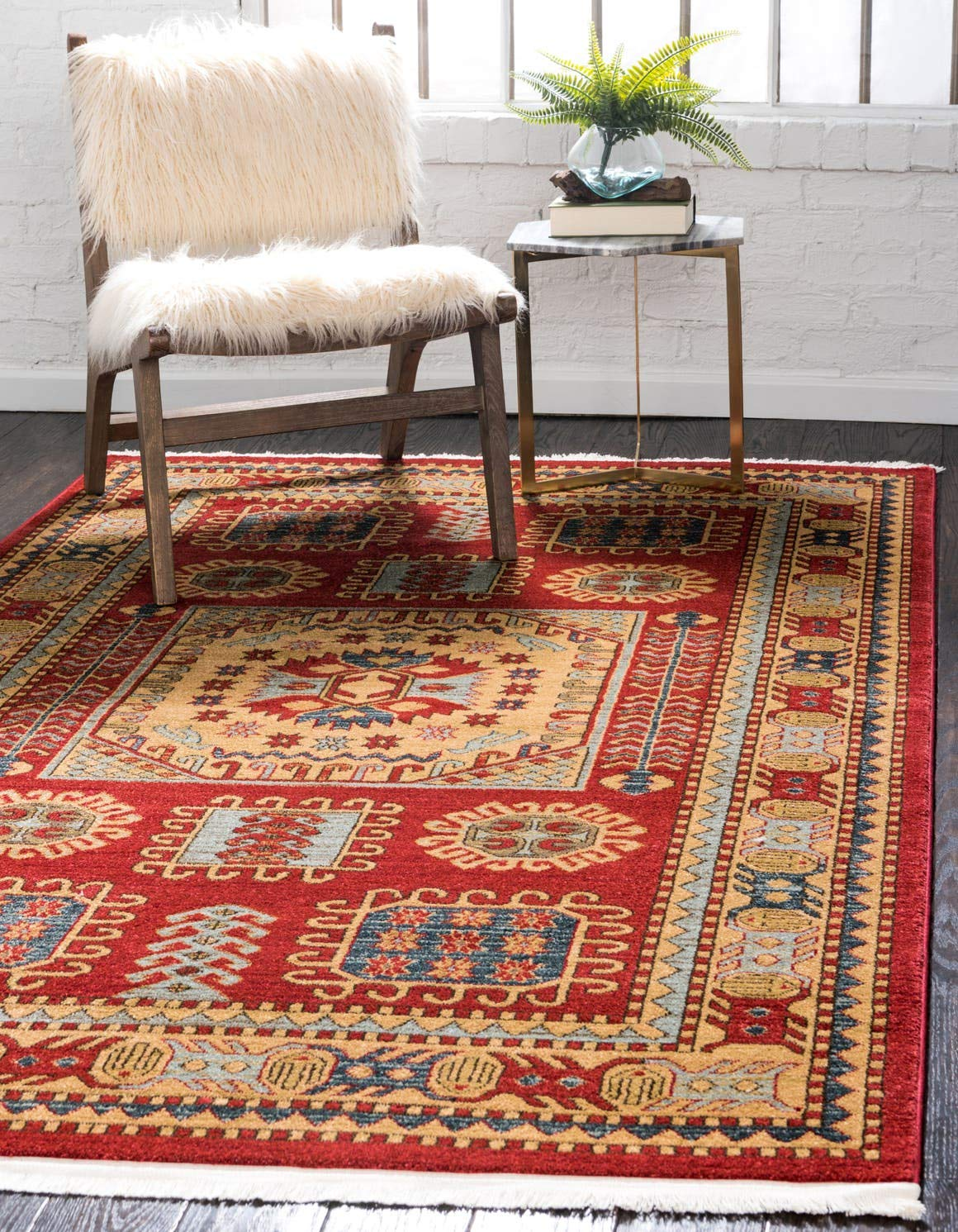 Unique Loom Sahand Collection Traditional Geometric Classic Red Area Rug 5 0 x 8 0
