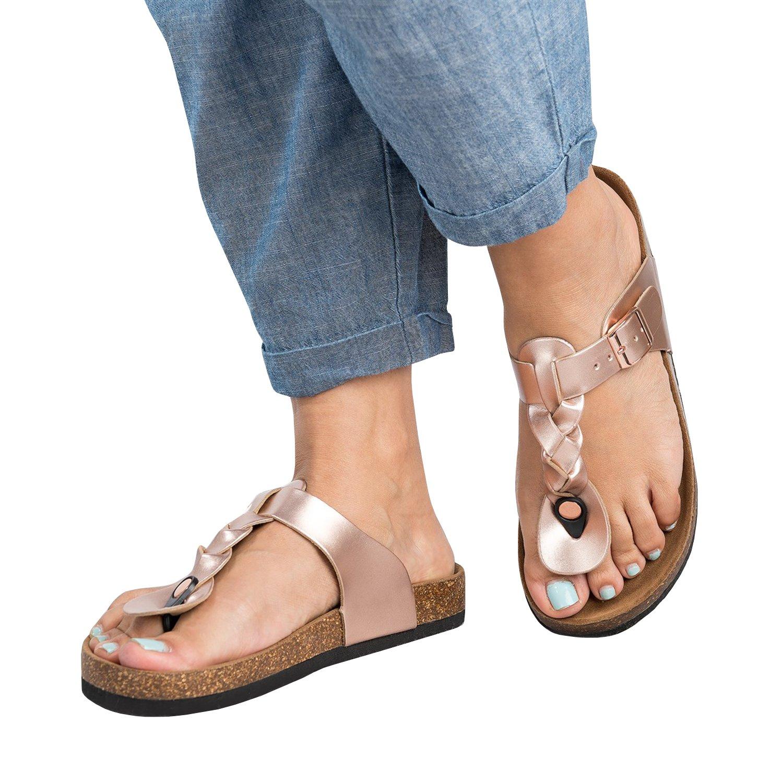 Damen Flip Flops Schuhe Sandalen Schnalle Peep-Toe Slip Sommer Strand Flache  38 EU|Rosa