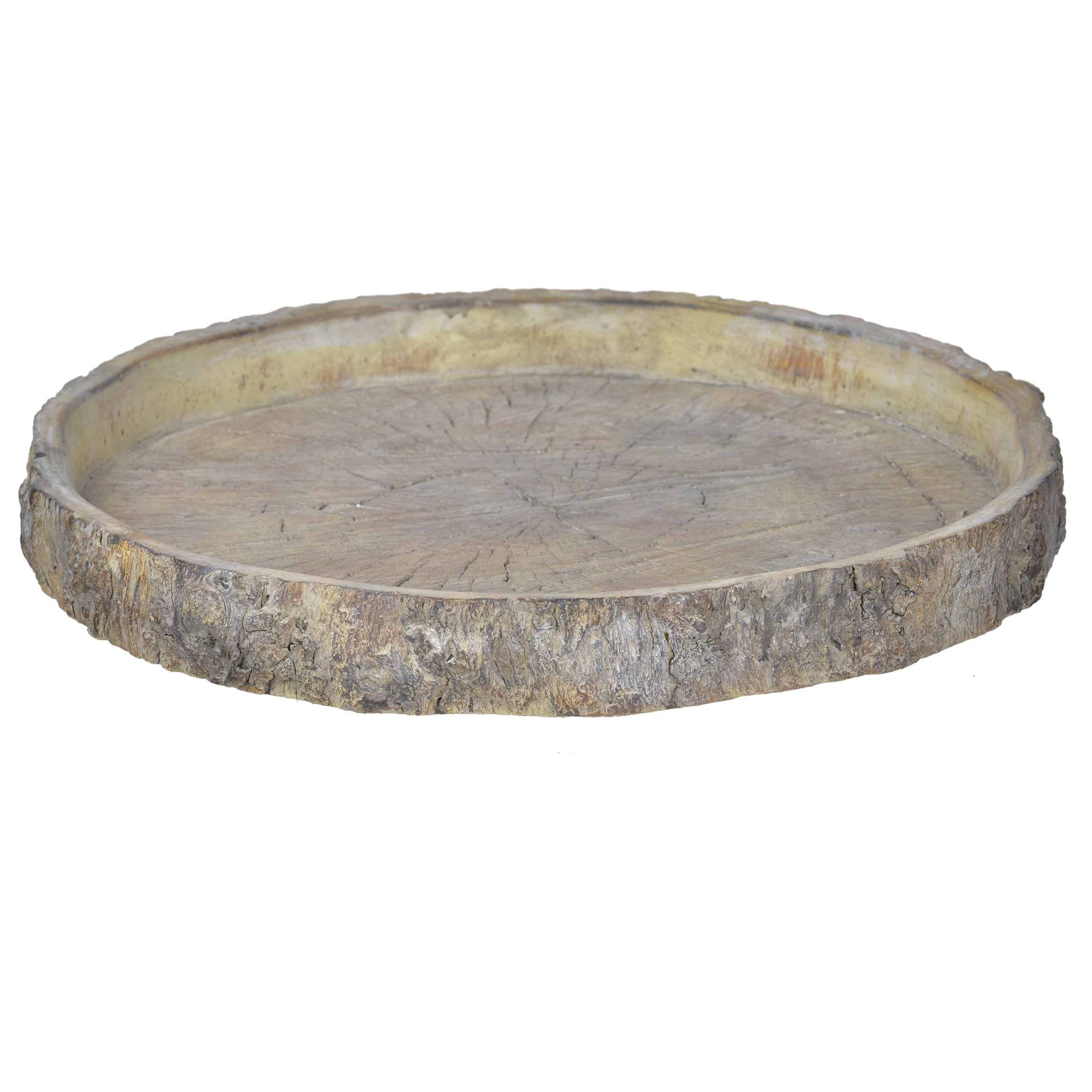 A&B Home D1611 Faux Wood Cement Plate, Large, 15''