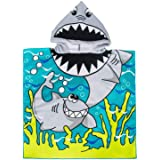 Hooded Towel for Age 2 to 7 Year Kids Cotton,Super Absorbent, 24×24Inch, Use for Bath/Pool/Beach Times, Shark