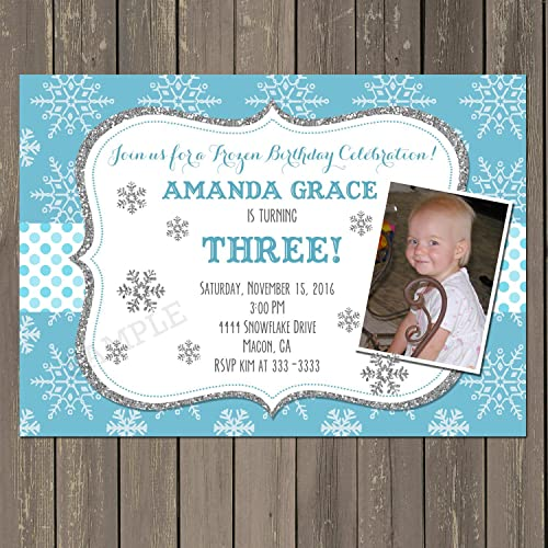 amazon com snowflake birthday party invitation winter birthday