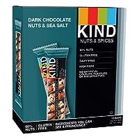 KIND Dark Chocolate Nuts & Sea Salt - Natural Protein - Healthy Snack Bar- Best Snack - 12 x 40g bar