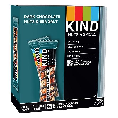 KIND Dark Chocolate Nuts & Sea Salt - Natural Protein - Healthy Snack Bar- Best Snack - 12x 40g bar
