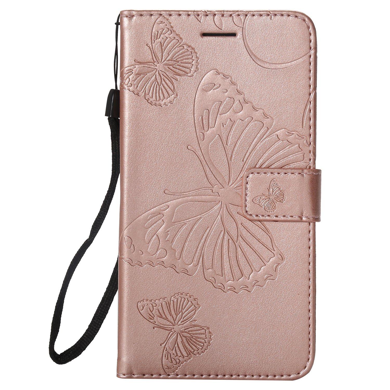 Lomogo Nokia 6.1 2018 Hü lle Leder, Schutzhü lle Brieftasche mit Kartenfach Klappbar Magnetverschluss Stoß fest Kratzfest Handyhü lle Case fü r Nokia6.1 - LOKTU22767 Rosa Gold