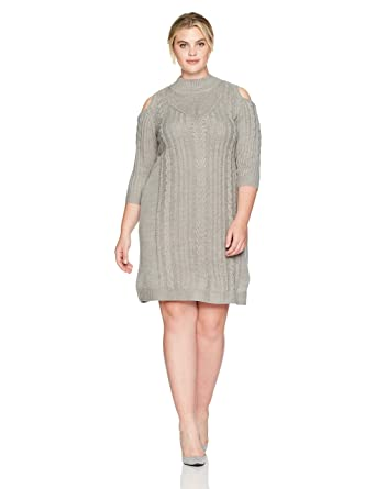 7d89e97aaf Jessica Howard Women s Plus Size Cold Shoulder Cable Knit Dress at ...