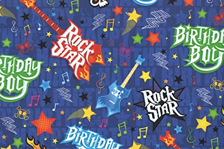 5 X Blue Rock Star Guitar Boys Birthday Gift Wrap