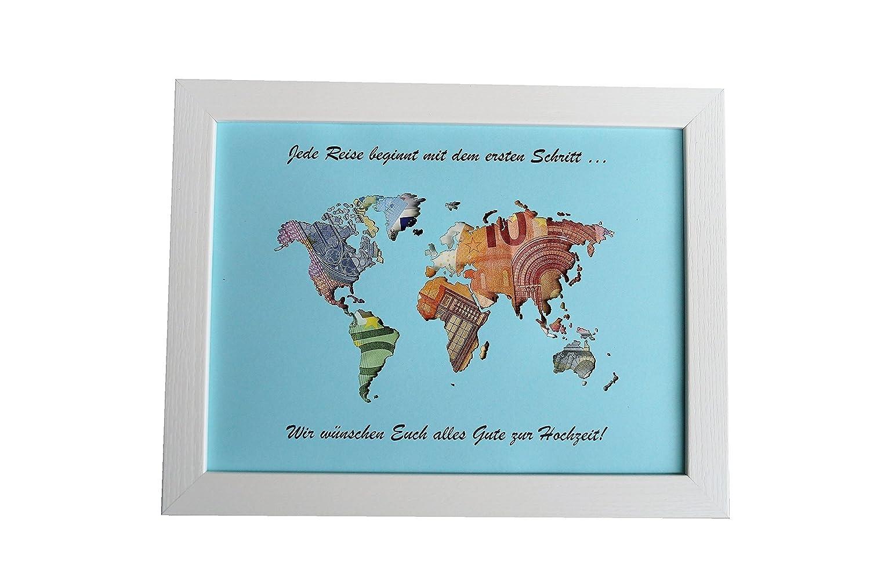 Geldgeschenk mit Ihrem/meinem Text auf der Weltkarte im Bilderrahmen ...