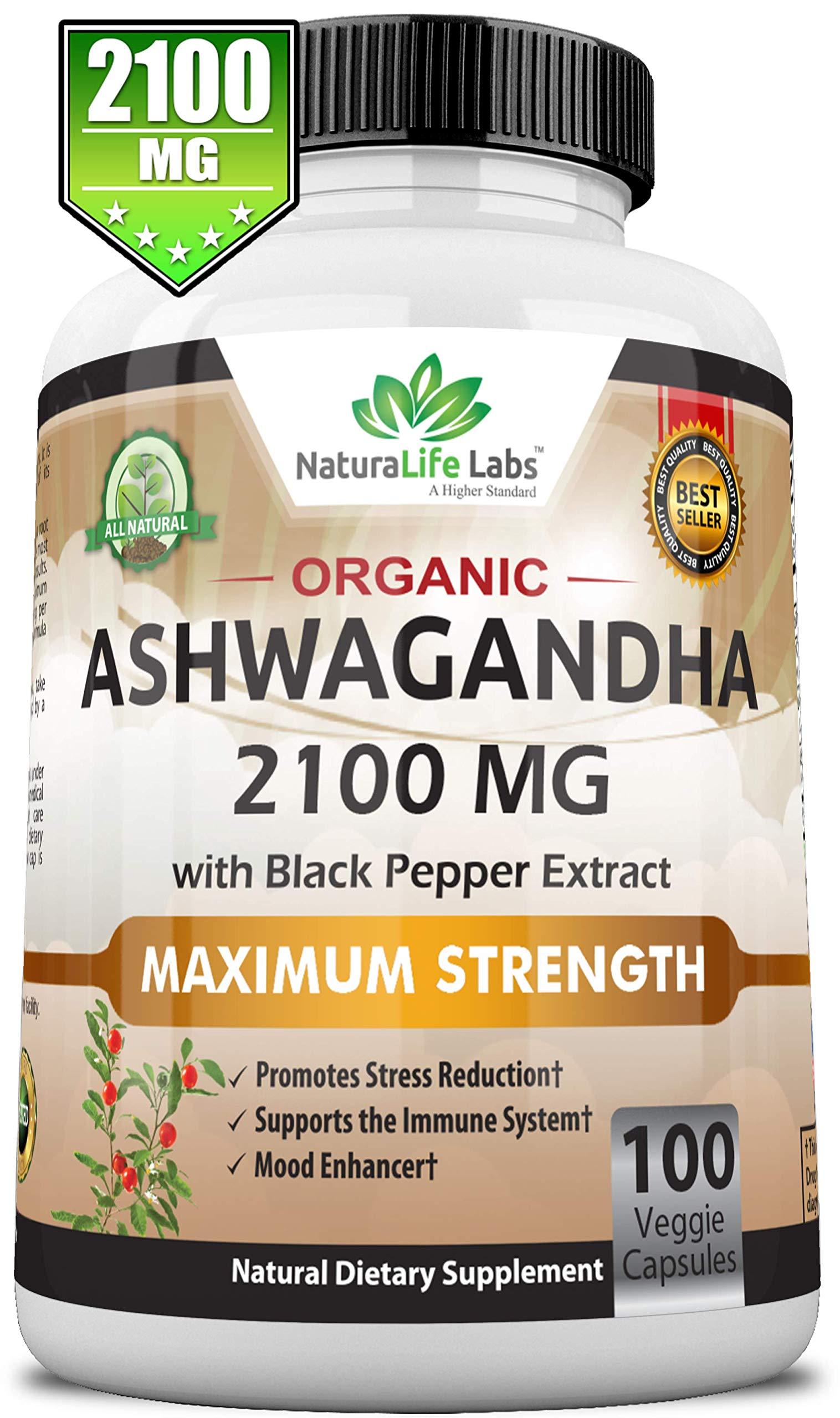 Organic Ashwagandha 2,100 mg - 100 Vegan Capsules Pure Organic Ashwagandha Root Extract and Powder - Natural Anxiety Relief, Mood Enhancer, Immune & Thyroid Support, Anti Anxiety by NaturaLife Labs