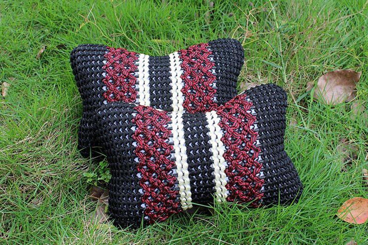 Lanlan Car Ice Silk Headrest Vehicle cushion Neck Pillow Protect the Spine Linen Style 1 Pair (Black)