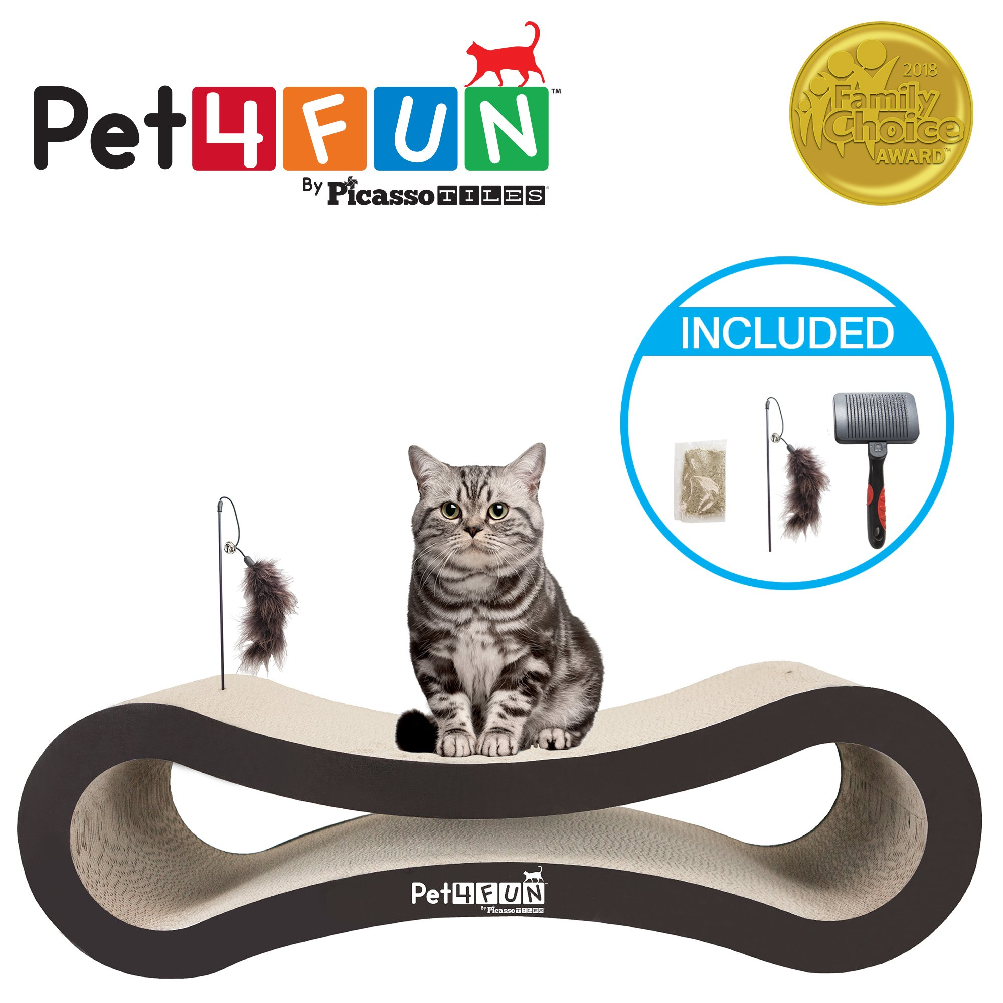 Pet4Fun® PF360 4 in1 Reversible Durable Stylish Cat Scratcher Lounge w/ large space and special teaser holder for scratching, playing, resting, and napping. Teaser, Comb, & Catnip Included by Picasso Tiles