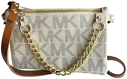 7aee7c2d933807 Image Unavailable. Image not available for. Color: Michael Kors MK  Signature Fanny Pack Belt Bag Vanilla Medium