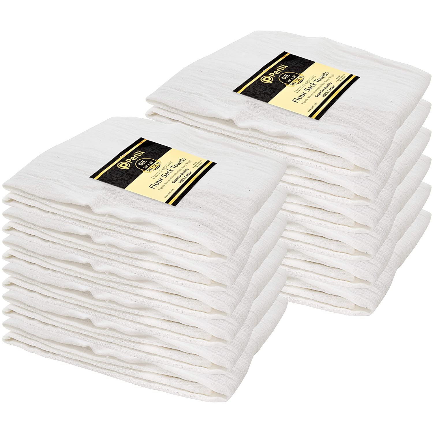 Perlli Flour Sack Towels 12 Pack Bulk 100% Cotton Kitchen White Dish Towels Highly Absorbent Tea Towel Multiple Uses - Embroidery Cloths Dishtowels Bread Basket Drying Hands, Cleaning Lint Free Cloths