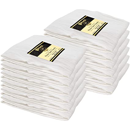 Perlli Flour Sack Towels 12 Pack Bulk 100 Cotton Kitchen White Dish Towels Highly Absorbent Tea Towel Multiple Uses Embroidery Cloths Dishtowels