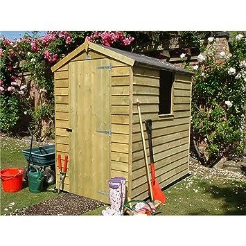 6 ft x 4 ft jardín caseta de madera solapada tratada a presión (10 mm sólido OSB piso): Amazon.es: Jardín