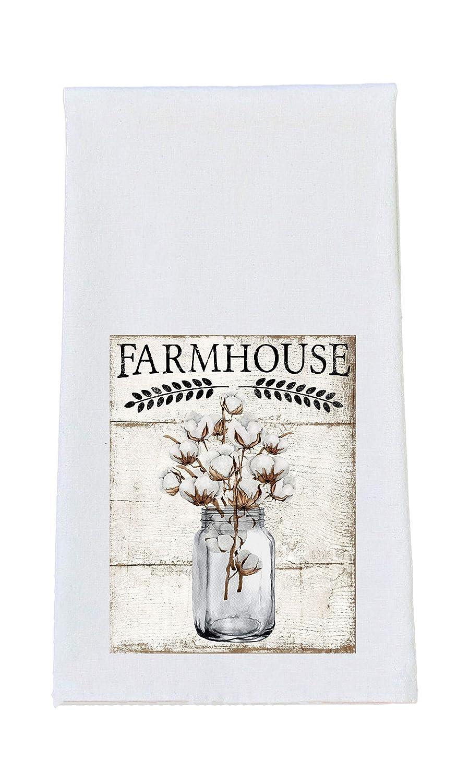 Farmhouse Country Kitchen Mason Jar Print Tea Towel Set of 4 100/% Cotton