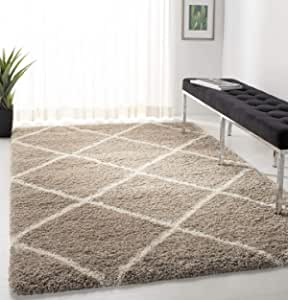 Safavieh Hudson Shag Collection Sgh281s Modern Diamond Trellis Non Shedding Living Room Bedroom Dining Room Entryway Plush 2 Inch Thick Area Rug 8 X 10 Beige Ivory Furniture Decor
