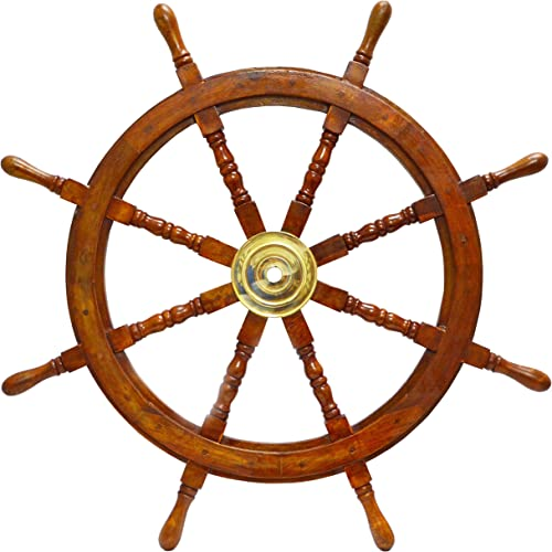 Brass Nautical Large 30 Nautical Wood Boat Ship with Brass Ring Steering Wheel Home Shipwheel